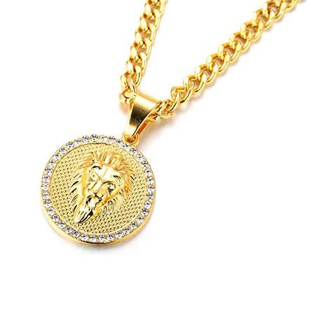 Lion Disc Pendant Necklace