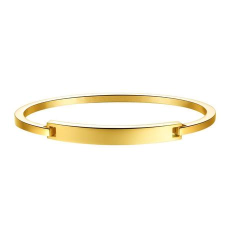 Modern Open Cuff Bangle // 14K Gold + Stainless Steel