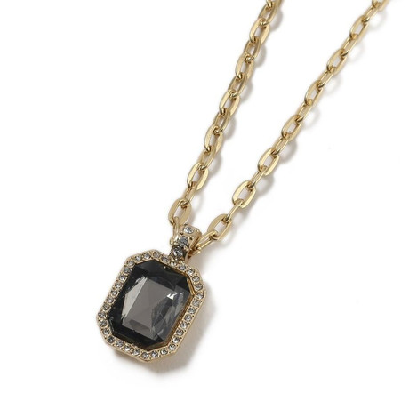 Emerald Cut Black Sapphire Necklace // 14K Gold Plating + Stainless Steel