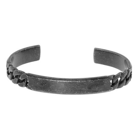 Curb Open-Cuff Bangle // Stainless Steel + Black Gun Plating