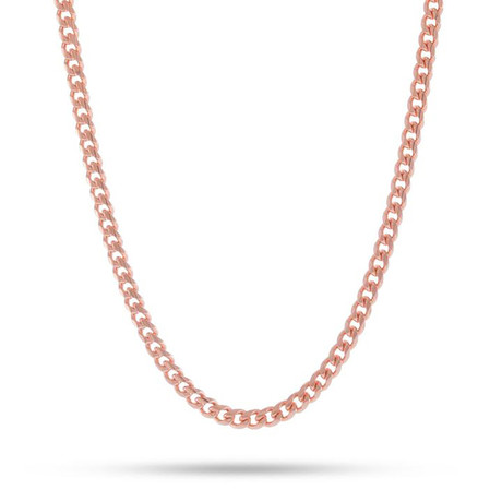 Mini Curb Chain Necklace // 14K Rose Gold Plated