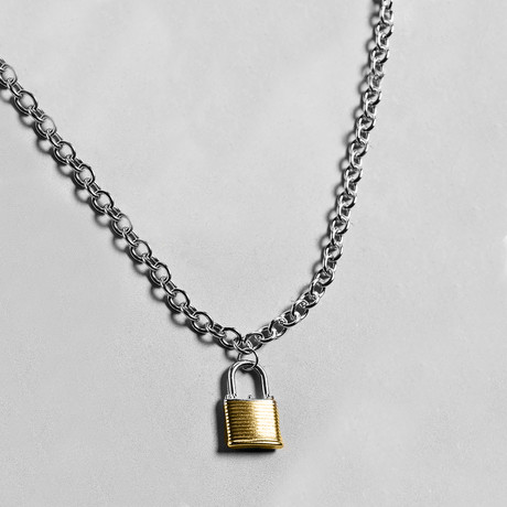 Two-Tone Padlock Necklace // 14K Gold Plated