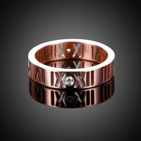 Roman Numeral Modern Ring // 14K Rose Gold Plating + Stainless Steel (7)