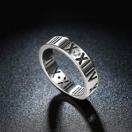 Roman Numeral Modern Ring // 14K White Gold Plating + Stainless Steel (7)