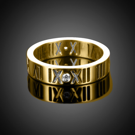 Roman Numeral Modern Ring // 14K Gold Plating + Stainless Steel (7)