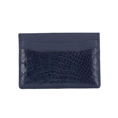 Exotic Alligator Card Holder // Navy Blue