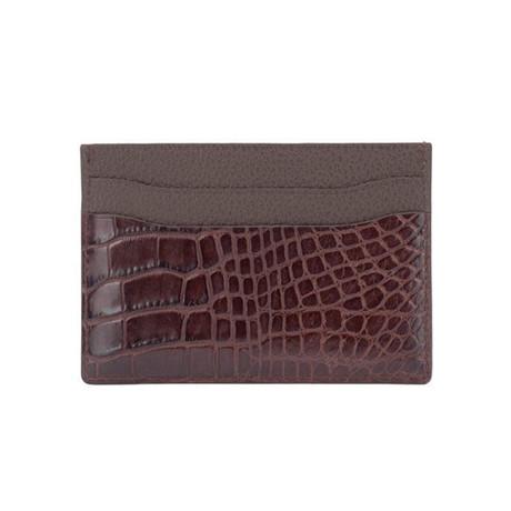 Exotic Alligator Card Holder // Kango Brown