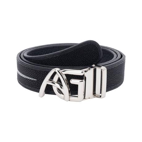 Exotic Stingray Belt // Black + Silver Buckle