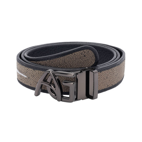 Exotic Stingray Belt // Taupe + Black Buckle