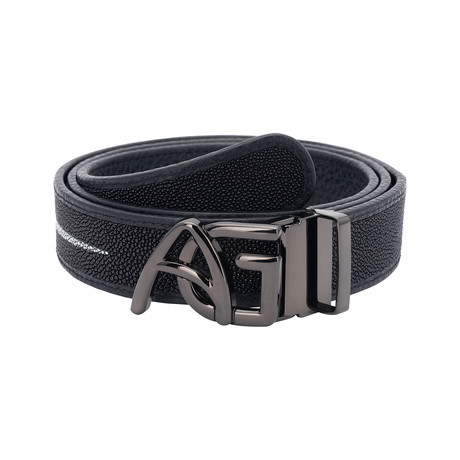Exotic Stingray Belt // Black + Black Buckle