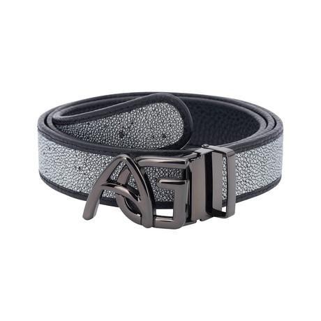Exotic Stingray Belt // Silver + Black Buckle