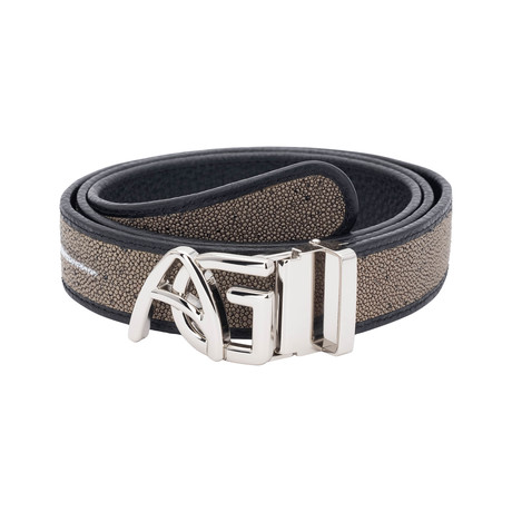 Exotic Stingray Belt // Taupe + Silver Buckle