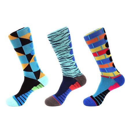 Brick Stripe Athletic I // Multi Color // Pack of 3 (Multicolor)