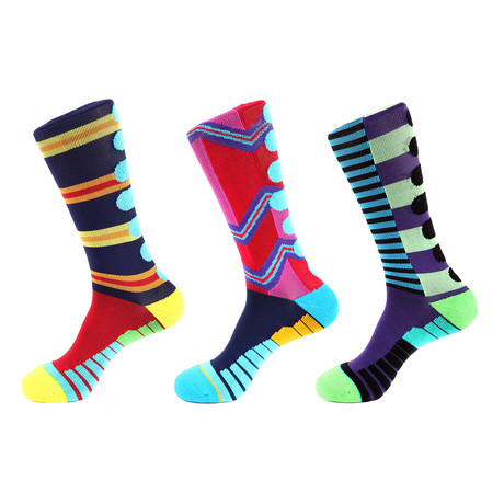 Lane Stripe Athletic Socks I // Multicolor // Pack of 3