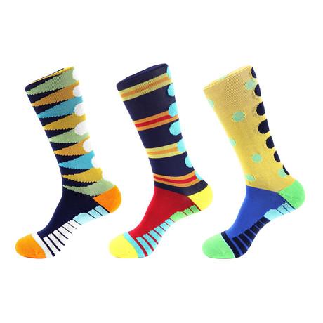 Tiger Stripe Athletic I // Multi Color // Pack of 3 (Multicolor)