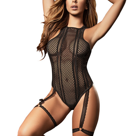 Stephanie Bodysuit + Garter Straps // Black (S)