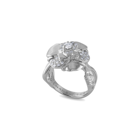 Vintage Chanel 18k White Gold Camelia Diamond Ring // Ring Size: 5.5