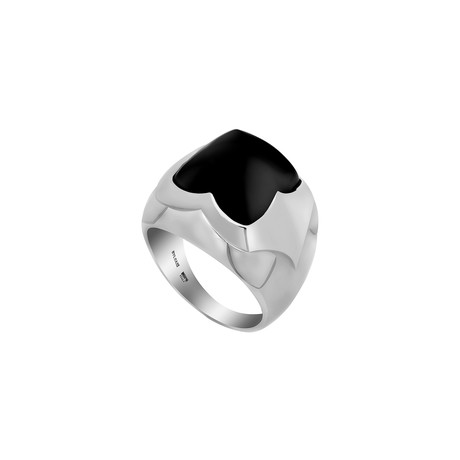 Bulgari 18k White Gold Onyx Pyramid Ring // Ring Size: 4.5 // Pre-Owned