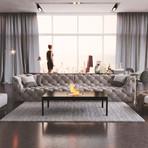 Modern Fireplace Coffee Table (Matte Black)