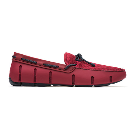 Braided Lace Loafer // Deep Red + Navy (US: 7)