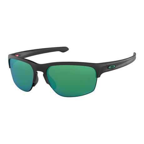 Men's Silver Edge Sunglasses // Matte Black + Prizm Jade