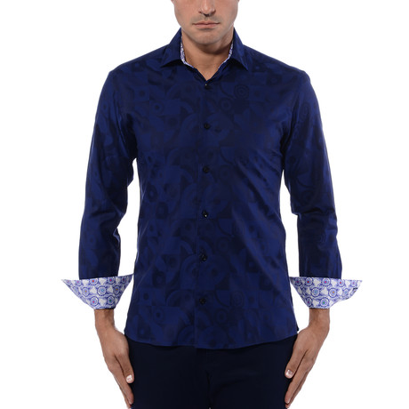 Abstract Art Long Sleeve Shirt // Navy Blue (S)