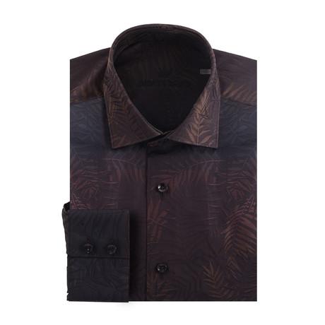Gradient Tropical Palms Long Sleeve Shirt // Brown + Black (S)