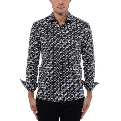 Abstract Flower Poplin Print Long Sleeve Shirt // Black + White (S)