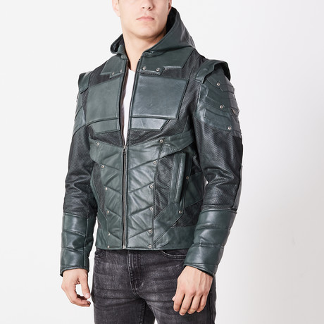 Green Arrow Hooded Leather Jacket  // Green (XS)