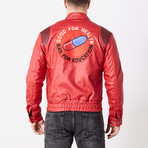 Akira Leather Moto Jacket // Red (M)