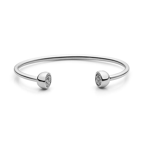 Flower Garden Leaves Bangle Bracelet (Silver)