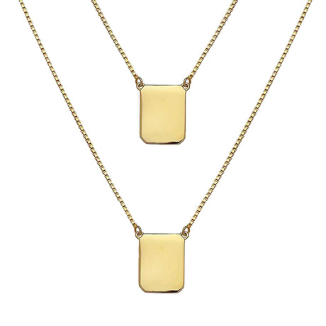 Box Chain Scapular Necklace // Yellow