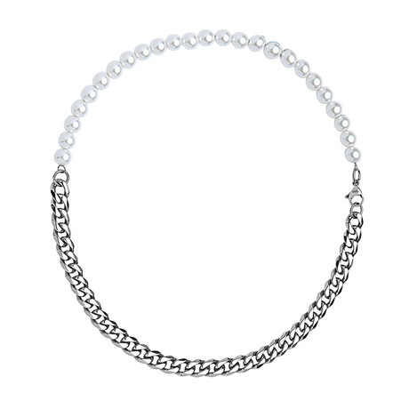 Pearl + Cuban Chain Link Choker Necklace (Silver)