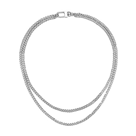 Double Layer Curb Link Chain Necklace // Silver