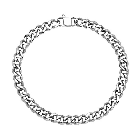 Cuban Link Stainless Steel Necklace // 15mm // Silver