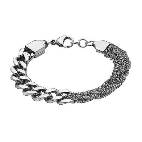 Curb Link Chain And Half Small Chain Bracelet // 10mm (Silver)