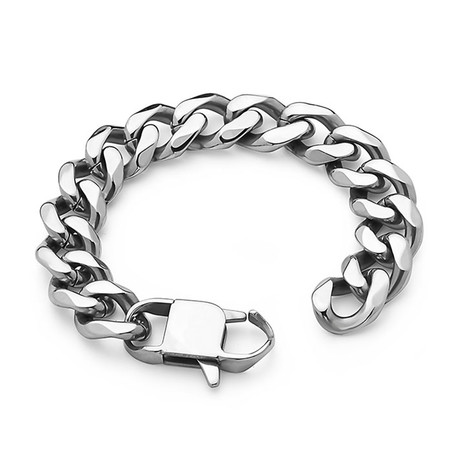 Cuban Link Stainless Steel Bracelet // 15mm // Silver