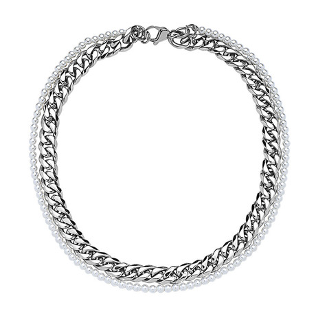 Double Layer Pearl + Curb Link Chain Necklace (Silver)