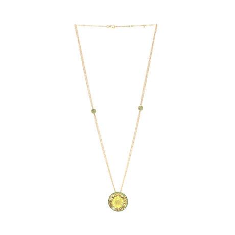 Roberto Coin 18k Yellow Gold Green Garnet + Quartz Necklace