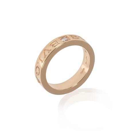 Bulgari Bulgari 18k Rose Gold Diamond Ring I (Ring Size: 5.25)