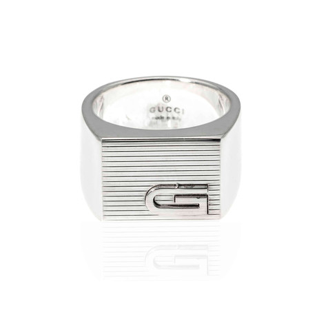 Gucci Mille Righe Sterling Silver Band Ring // Ring Size: 5.75