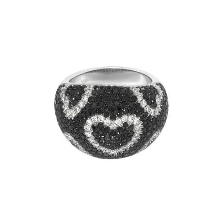 Roberto Coin 18k White Gold Diamond + Black Diamond Ring // Ring Size: 6.25