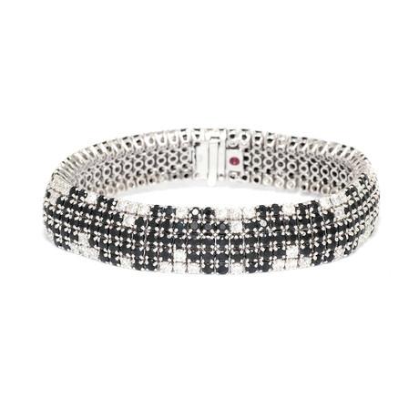 Roberto Coin 18k White Gold Diamond + Black Sapphire Bracelet