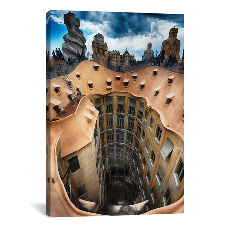 "Rooftop View of Casa Mila (La Pedrera) With Group of Chimneys and Courtyard, Barcelona, Catalonia, Spain // George Oze (12""W x 18""H x 0.75""D)"