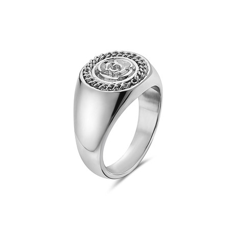 Flower Garden Leaves Curb Chain Crown Signet Ring // Silver (7)