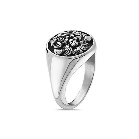 Flower Garden Leaves Signet Ring // Silver (7)