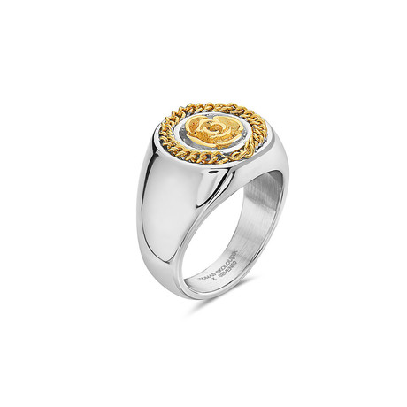 Flower Garden Leaves Curb Chain Crown Signet Ring // Yellow (7)