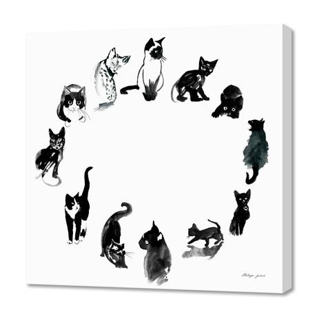 """Cat Round // Canvas (16""""W x 16""""H x 1.5""""D)"""