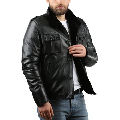 Natural Leather Jacket V // Black (XS)