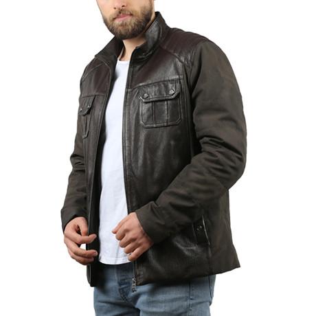 Jumbo Leather Jacket // Brown (XS)